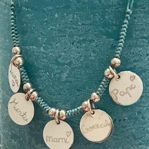 Collar de hilo con medallas de 15 mm personalizadas por niños, plata 925