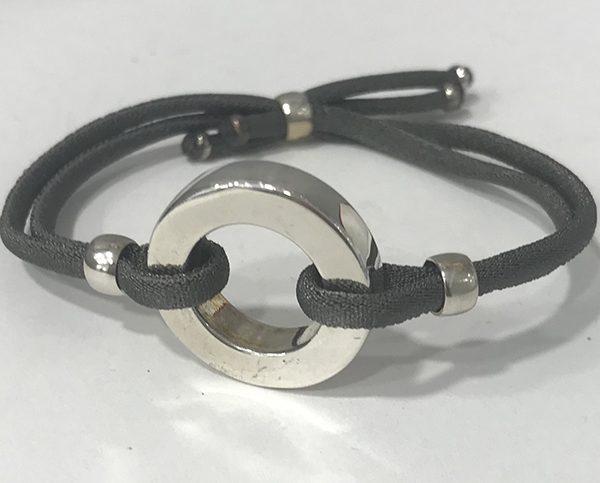 Pulsera de cordón elástico con donut de 20 mm de diámetro, plata 925.